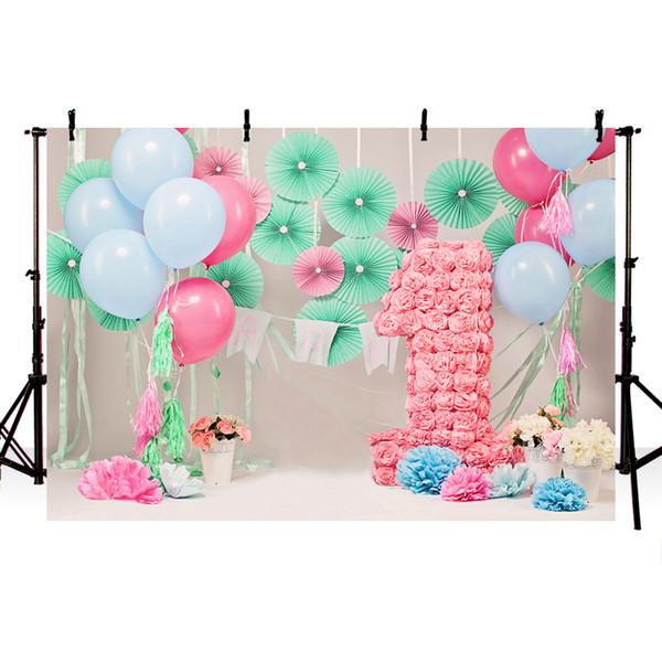 Ребенок 1-й день рождения воздушные шары цветы торт партия фотографии фон индивидуальные фотографические фоны для фотостудии