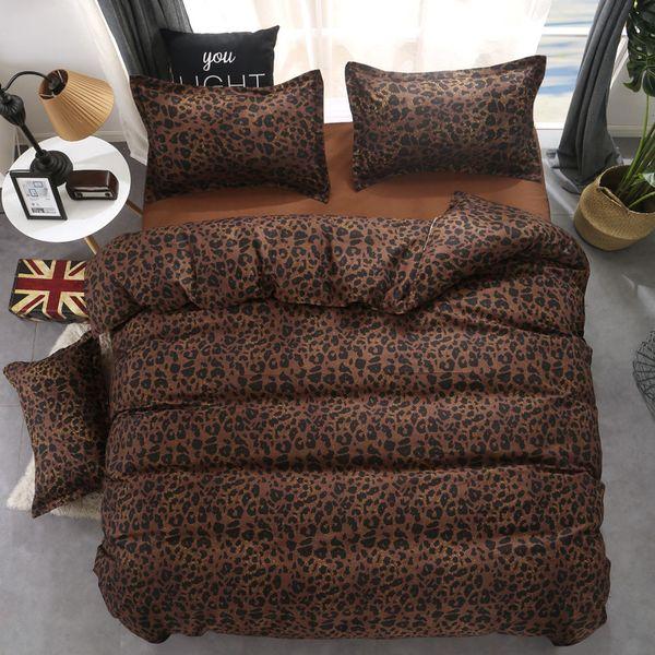 Fashion Bedding Set Bed Linen Leopard Duvet Cover Bed Sheet Pillowcases Black Queen Bedding Set Summer Pastoral Home