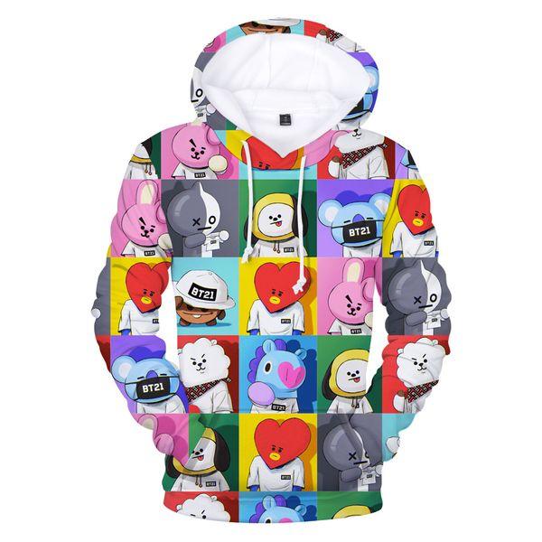 BTS Hoodies Street trend digital print 3D hooded sweater Casual Pullover Hoodie Sweatshirt Jacket Tops For Sale
