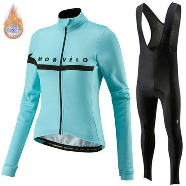 Morvelo Cycling Winter Thermal Fleece Jersey (bib) 바지 세트 따뜻한 유지 긴팔 자전거 의류 야외 스포츠 장비 남성