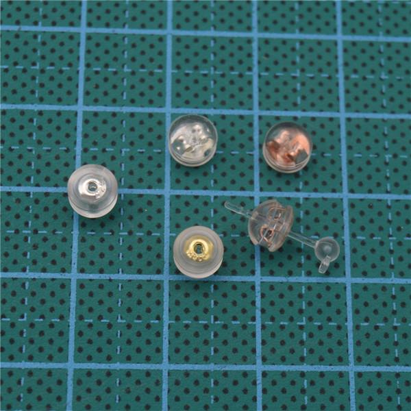 100 adet 4 * 5mm Temizle Silikon Dahili Metal Kelebek Kulak Takıp Küpe Geri Stoper