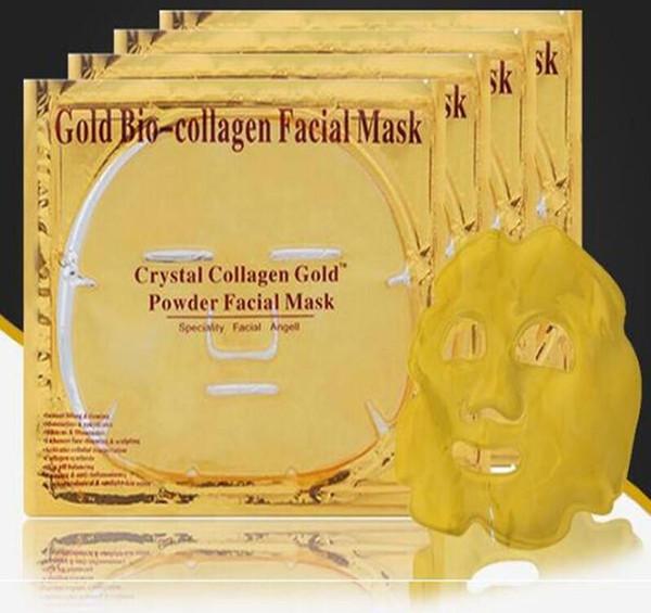 DHL gratuit or bio masque de collagène facial masque masque Crystal Gold poudre de masque de collagène facial feuilles hydratante beauté produits de soins de la peau