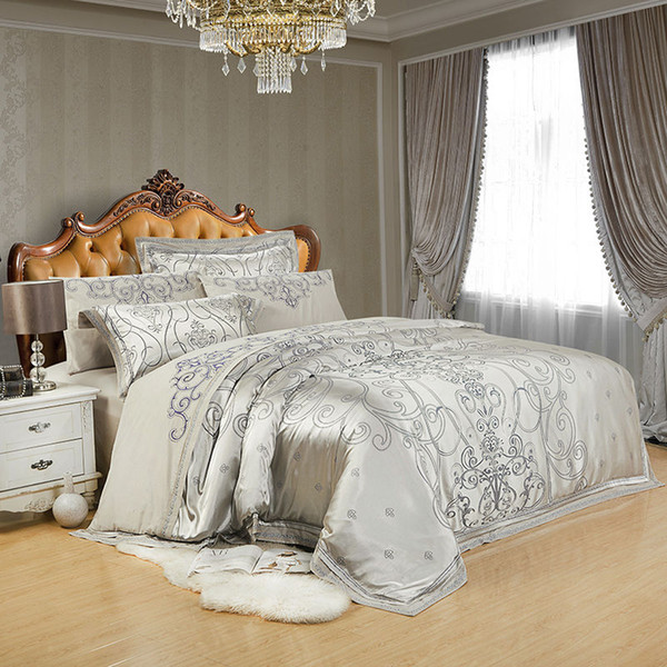 Silver Golden Silk Satin Luxury Bedding Sets juego de cama Bed cover Queen King Size set Duvet Sheet Linens linge