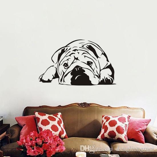 For Kids Room Bedroom Decor dog animal Wall Art Decoration English Bulldog Wall Stickers Removable Wallpaper wn638
