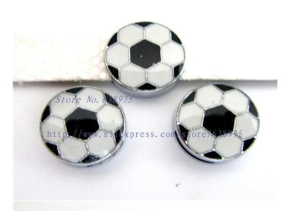 free shipping 50pcs-100pcs 8mm Enamel Football Slide Charm Fit 8mm Wristband/Belt/Pet Collar