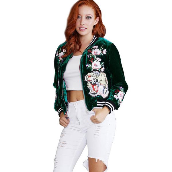 Womens Velvet Jacket Langarm Blume Floral Stickerei Gestreiften Reißverschluss Casual Outwear Kurzmantel Bomberjacke S-XXL SN