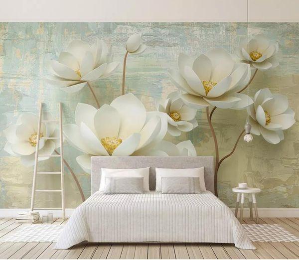 Custom 3d Wallpaper Embossed Colorful Flower TV Background Wall Living Room  Bedroom Wall Papers Home Decor Paintable Wallpaper Pc Desktop Wallpaper ...
