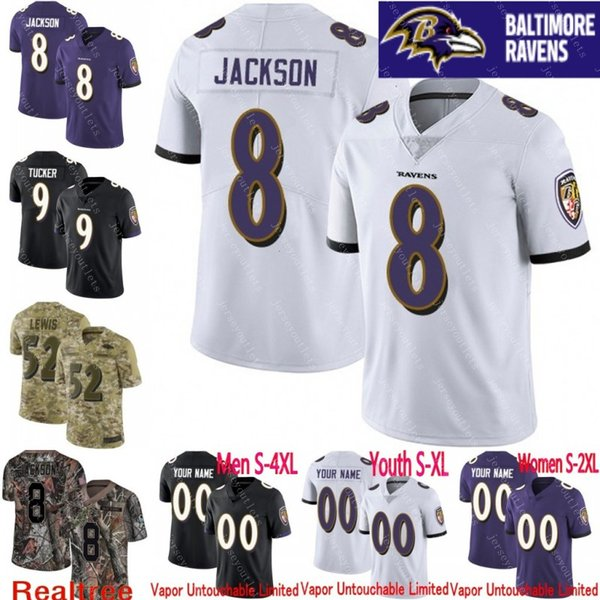 best service 77318 2ab7a 2019 100th Anniversary Men Youth Women Vapor Untouchable Ravens 8 Lamar  Jackson 9 Justin Tucker Custom Camo Salute To Service Football Jersey 01  From ...
