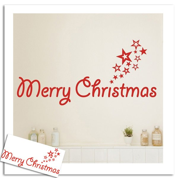 Four Colours English Christmas Words Carved Decorative Waterproof Wallpaper  Decorative Sticker Free Postal Hot Sales Products Transparent Window