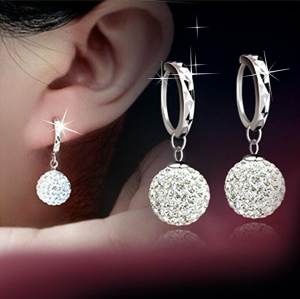 Full Rhinestone Disco Ball Pendant Earrings Austrian Crystal Dangle Silver Earring Women Wedding Eardrop for Party Jewelry