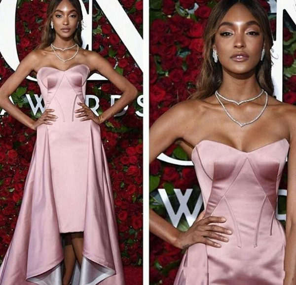 2019 New Over Skirt Evening Dresses Shiny Pink Sheath Tea Length With Detachable Formal Prom Party Gowns vestidos de fiesta