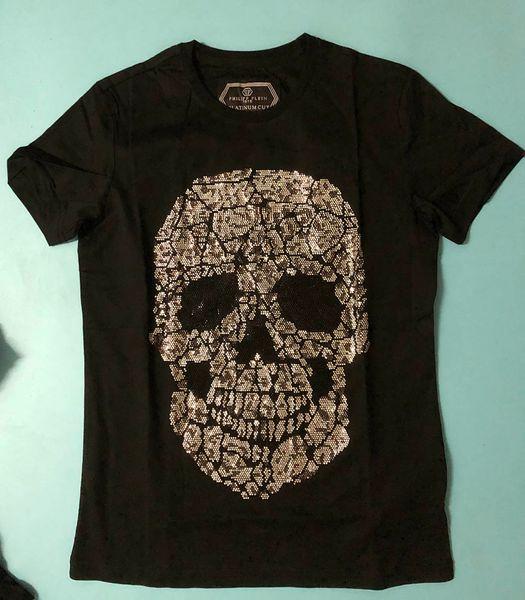 2019ss mens designer t shirts short sleeve men brand clothing fashion rhinestone skull women t-shirt male top quality cotton Tees 147
