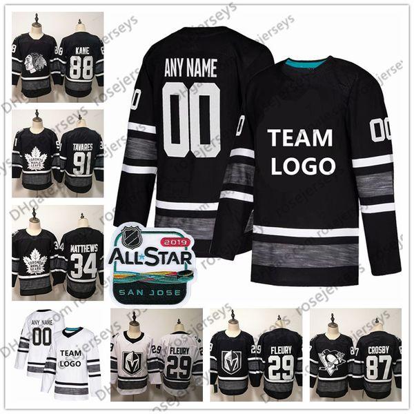 Personalizado 2019 NHL All-Star jogo Jerseys costurado qualquer número de nome Crosby Burns Kane Fleury McDavid homens mulheres juventude Kid Black White Ice Hockey