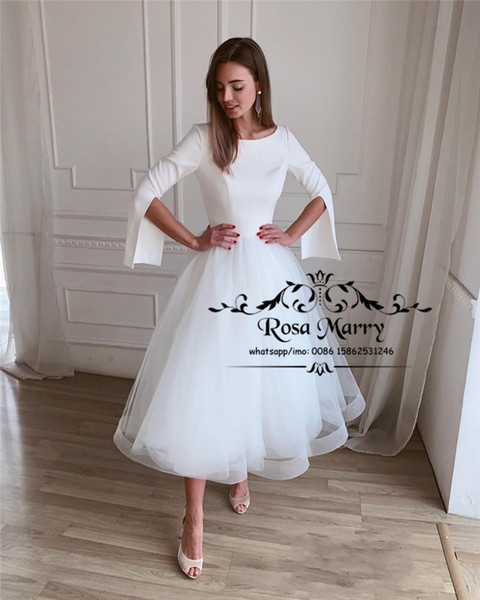 Modest Plus Size Short Wedding Dresses 2019 White Long Sleeves Cheap Teal Length 1950S White Tulle Simple Country Beach Bridal Gowns