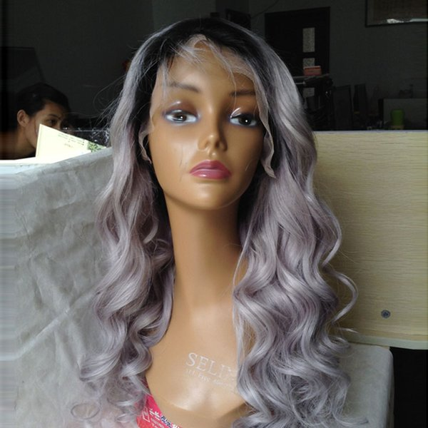 Yeni Dalgalı Ombre Gri İnsan Saç Ipek Taban Dantel Ön Peruk kadın için Tutkalsız Ombre dantel Peruk