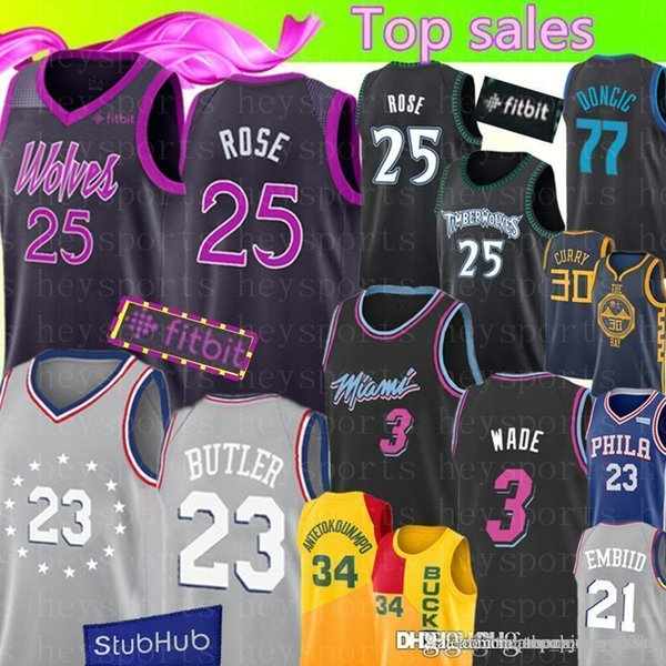 newest 45132 1641c 2019 City 25 Derrick # Rose Timberwolves Jersey Top 23 Jimmy # Butler 76ers  3 Dwyane # Wade Heat Luka 77 Doncic 34 Antetokounmpo From Flyingjersey88,  ...
