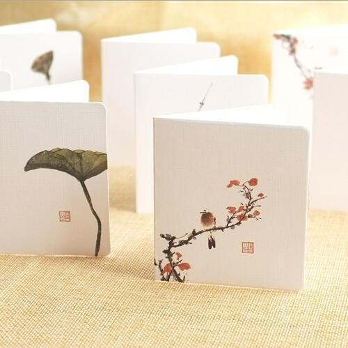 birthday cards china greeting cards gifts Chinese ink painting Creative simple classical gift card envelope set Chinese style folding cards
