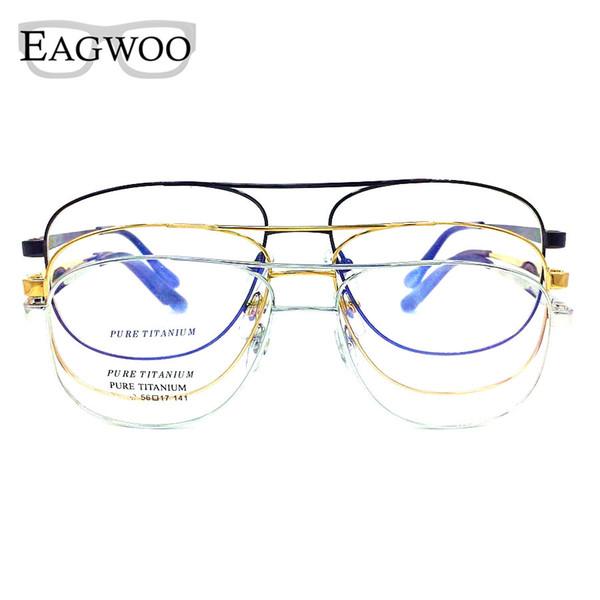 Titan Brillen Doppel Brücke Vintage Nerd Große Größe Optische Rahmen Brillen Lesebrille Für Wide Face Männer Brille