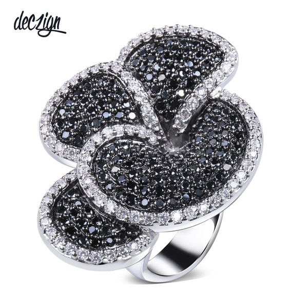 Deczign 2019 Gran producto Flor Gran anillo Pave Jet y Clear cubic zirconia piedras Grandes anillos de fiesta joyería de diseño entrega rápida SJ09146