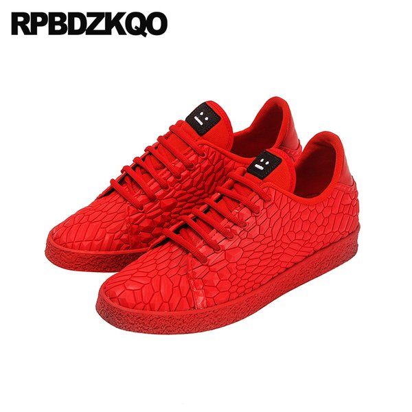 Lace Up Skate Snake Skin Sneakers Snakeskin Designer High Top Red Casual Men Hip Hop 2018 Fashion Shoes Trainers Python Leather