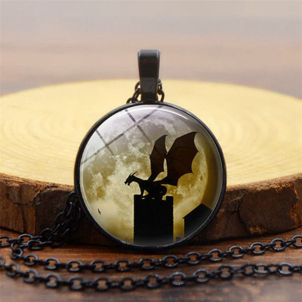 Fashion Hot Sale Accessories Moon Magic Dragon Time Gemstone Necklace Europe and America New Pendant Necklace Sweater Chain