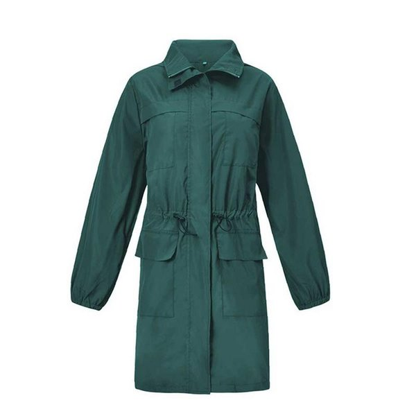 Women Casual Jacket Raincoat Leisure Simple Hooded Windbreaker Breathable Long Sleeve Windproof Raincoat Women Windbreaker