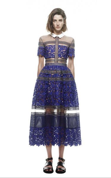Nueva llegada Marca autorretrato del estilo del cordón del ganchillo de las mujeres del vestido maxi largo del tobillo de longitud vestido de cauce de la manera Azul