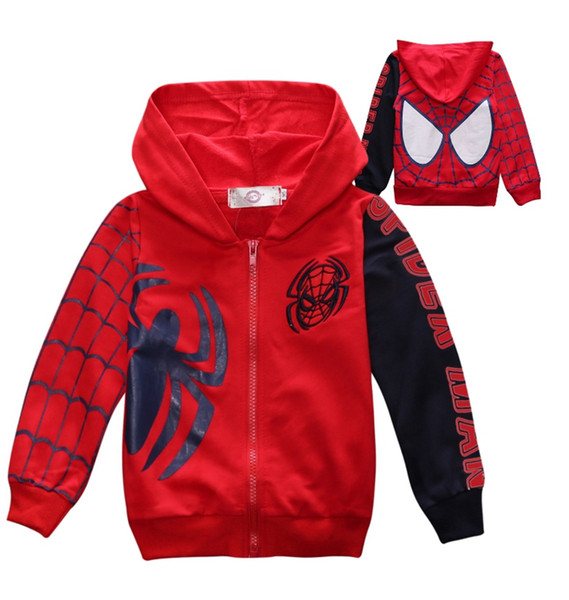 Homem aranha crianças casacos dos desenhos animados da criança menino moletom com capuz zipper crianças jaqueta de manga comprida meninos outwear cosplay roupas infantis 2 projetos ol02