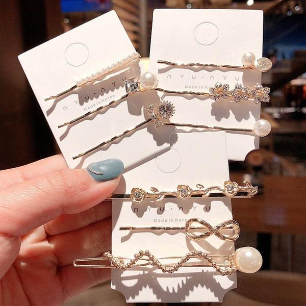 korean pearl girls hair clips fashion rhinestone designer hair clips women BB clips hair accessories for women barrettes 3pcs/set A7619