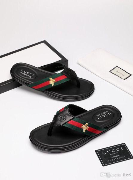 Роскошные бренды новый дизайнер мужские шлепанцы из натуральной кожи тапочки летняя мода пляж сандалии обувь для мужчин большой размер 48