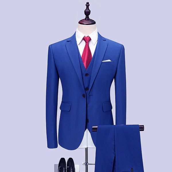 Мужские костюмы мужские сплошной цвет Тонкий деловой деловой костюм костюм-тройка (куртка + брюки + жилетка) мужские банкетные костюмы