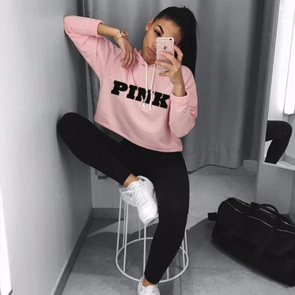 Mujeres sudaderas de gran tamaño Jumper sudadera mujer Pink Cropped Top 2019 invierno Kawaii Harajuku carta suelta suéter