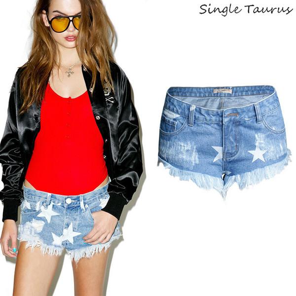 Niedrige Taille Jeans Shorts Frauen High Street Geometrische fünfzackigen Stern Print Denim Shorts Urlaub Quaste Muster Sommer