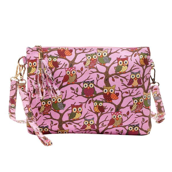 Cheap New Printing Owl Tote Bags Women Shoulder Bag Handbags Postman Package handbag for women2018 fashion casual handbag 0813