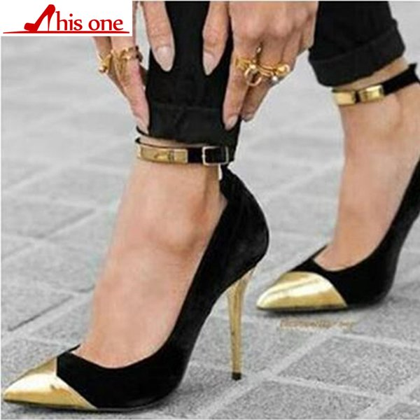 2019 neue Frauen Spitz Flock Pumps Kurve Super High heels Party Mode Schnalle Vintage Schuhe Damen Heels