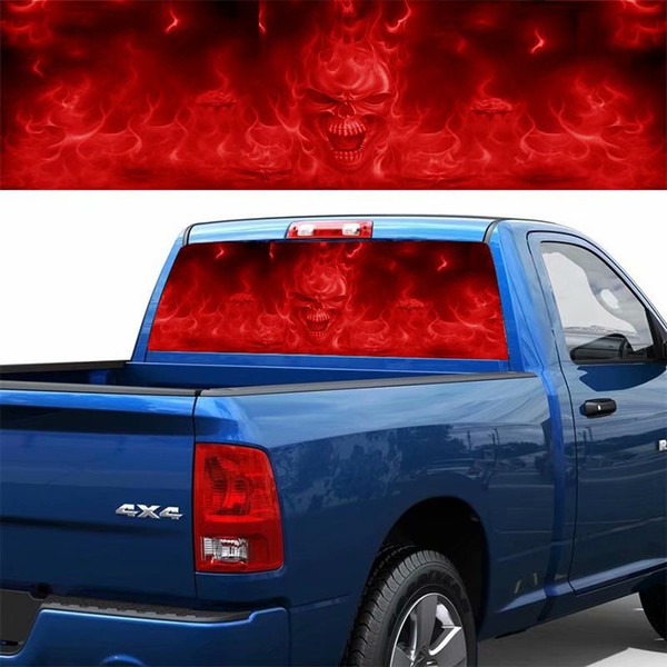1PC Red Flame Evil Skull Back Gear Car Sticker Horror Rear Window Glass Color Autos Decals