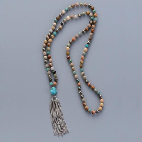 Bohemia Natural Stones Onyx Pyrite Metal Tassel Necklace Handmade Yoga Women Necklace Elegant Girl Necklace Dropshipping