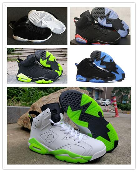 2019 6 white and black and green Fluorescent green wings VI men basketball shoes sports 6s outdoor trainers sneakers size 7-13
