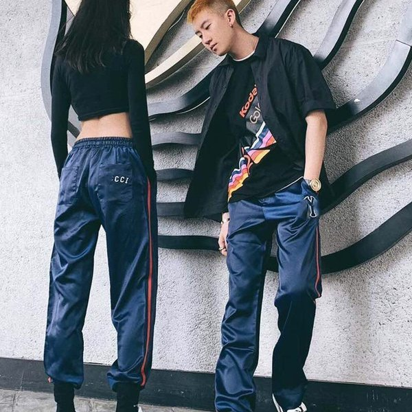 Luxury Logo Joint Красный Синий Контрастный Цвет Спортивные Брюки Ретро Уличная Мода Горячей Продажи Бесплатная Доставка Мужчины Женщины Пара Брюки HFSSKZ075