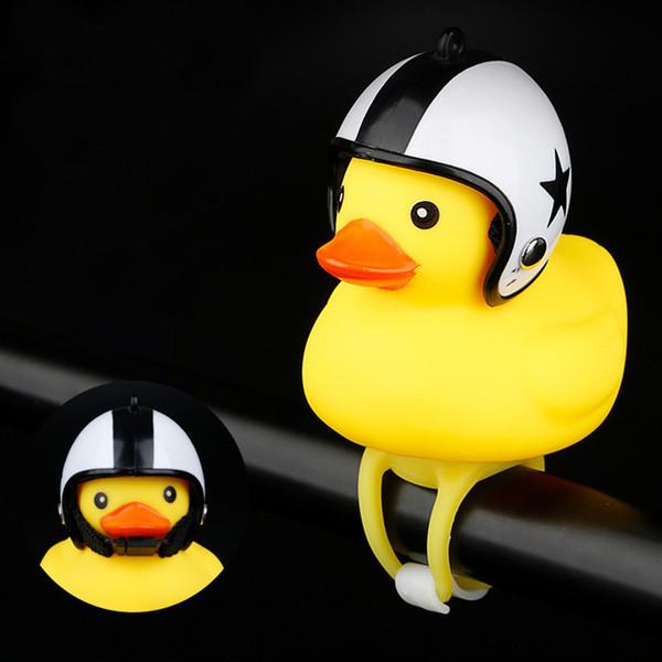 Karikatür Sarı Silika Jel Küçük Ördek Şekli Başkanı Işık Aksesuarları Araçlar Duck Dağ Bisikleti Gidon Shining Bisiklet Bells #P