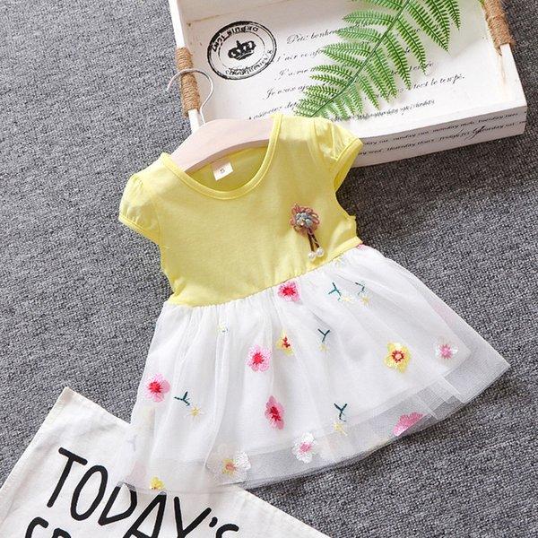 Faldas y faldas pantalón Ropa Bebe NiñA Verano Nuevo Vestido Informal para NiñOs PequeñOs para NiñAs Y NiñOs Vestido con Volantes con Volantes 1-6Y Vestido Amarillo