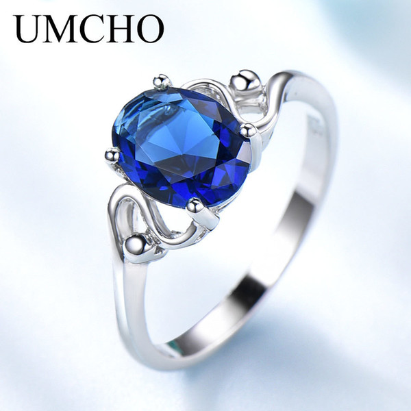 Brand Blue Sapphire Gemstone wedding rings sets for Women Genuine 925 Sterling Silver rings Birthstone Promise Bridal Anniversary Gift Ring