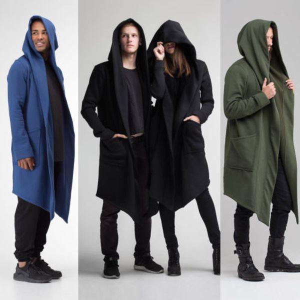 Fashon Men Women Hooded Coat 2018 New Autumn Winter Warm Solid Pocket Long Cloak Sci-fi Kimono Cardigan Burning Man Costume 2XL