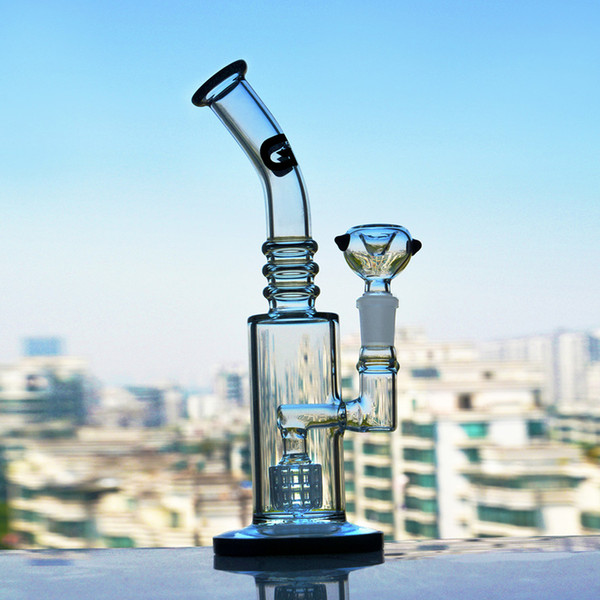 Glass Water Bongs Smoking Waterpipes Unique Percolator Bongs Heady Glass Dab Rigs Cool Bong Dabber With 14mm Bowl 9.5 Inchs