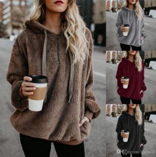 2019 Fashion New Flannel Jumper Hooded Sweater Women Solid Color Plus Velvet Warm Women's Tops Coat Russian Hot 9 Colors Pullovers Mujer