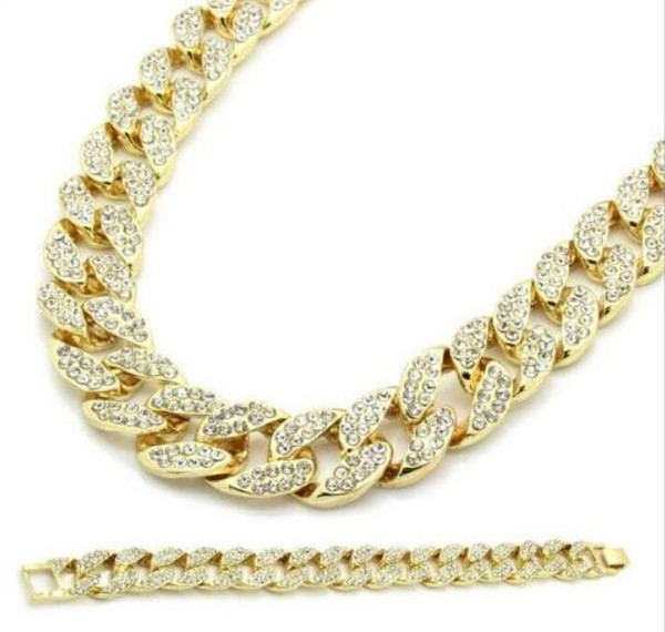 New Arrival Miami Cuban Link Chain Gold Plated Fully Iced Out Hip Hop Bling 2016 Hot Sale Promotion Chain Free Shipping