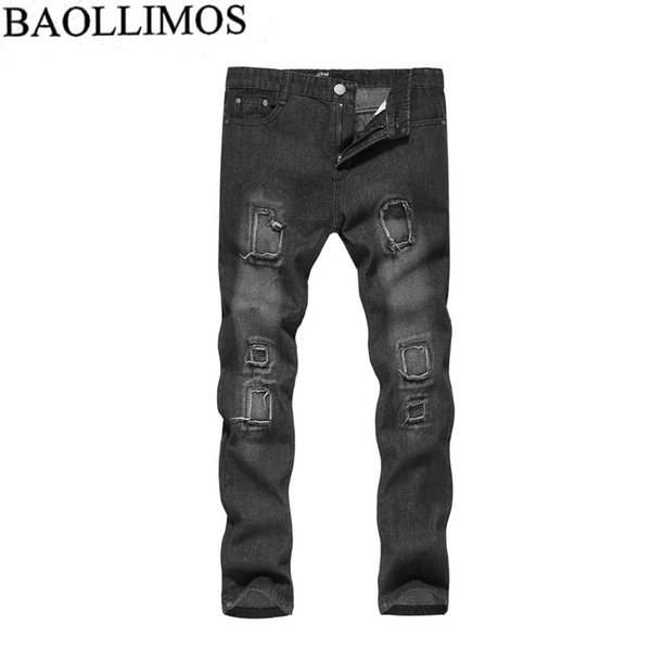 Men Jeans Stretch Destroyed Ripped Paint point Design Fashion Solid Color Casual Zipper Skinny Jeans For Men