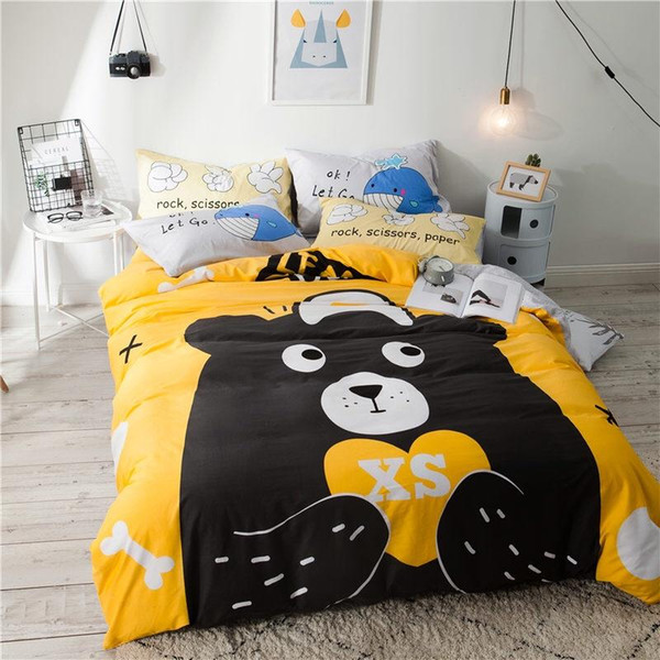 Fashion Lovely Child Bear Cool Bedding Sets Letter Soft Bed Linen Duvet Cover Pillowcase Bed Sheet Set Home Textile Coverlet 4PCS/Set