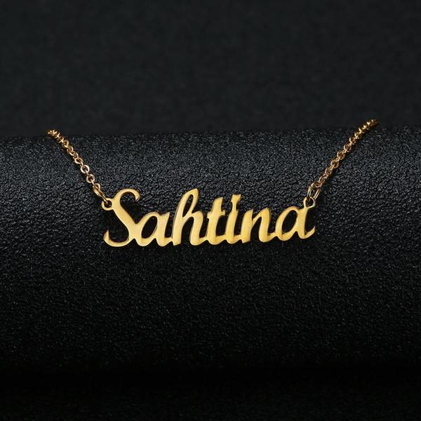 Color de plata de oro personalizado nombre personalizado colgante collar personalizado cursivo placa de identificación collar mujeres regalo de cumpleaños hecho a mano