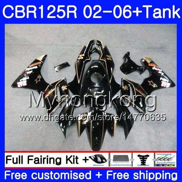 Body +Tank For HONDA CBR-125R CBR125R 2002 2003 2004 2005 2006 272HM.34 CBR 125CC 125 R 125R New godlen blk CBR125RR 02 03 04 05 06 Fairings
